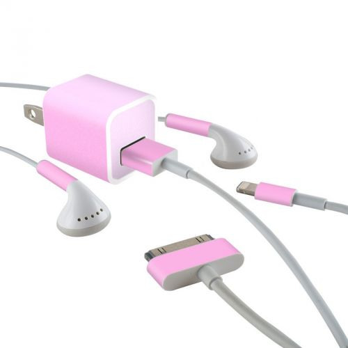 Solid State Pink iPhone Earphone, Power Adapter, Cable Skin