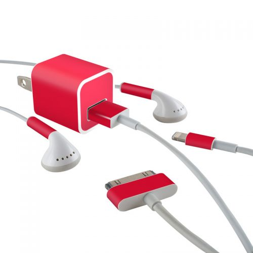 Solid State Red iPhone Earphone, Power Adapter, Cable Skin