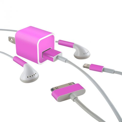 Solid State Vibrant Pink iPhone Earphone, Power Adapter, Cable Skin