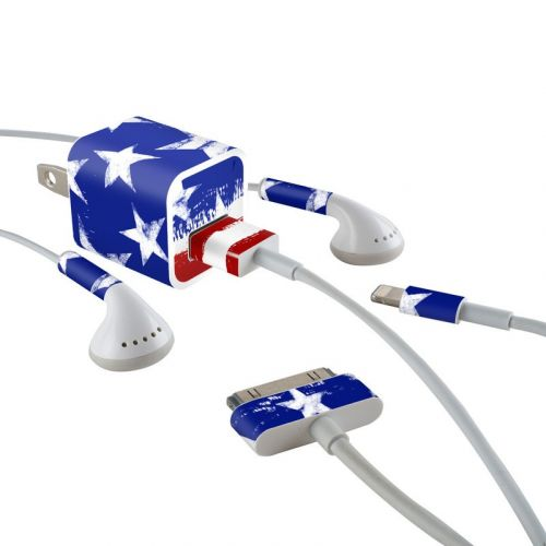 Stars + Stripes iPhone Earphone, Power Adapter, Cable Skin