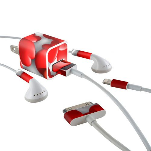 Sweet Heart iPhone Earphone, Power Adapter, Cable Skin