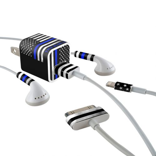Thin Blue Line iPhone Earphone, Power Adapter, Cable Skin