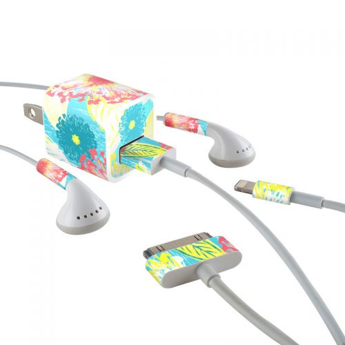 Tickled Peach iPhone Earphone, Power Adapter, Cable Skin