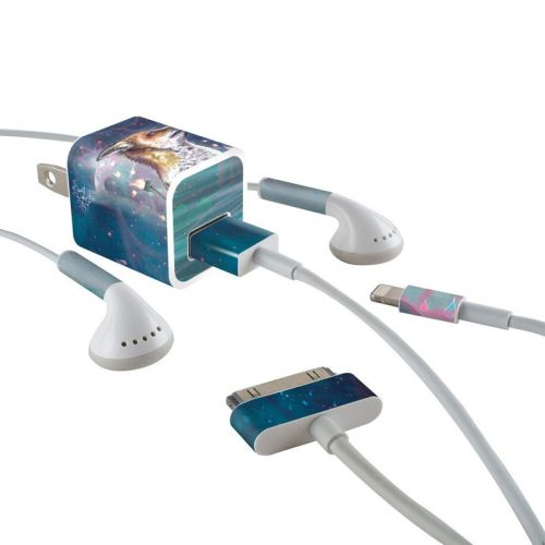 There is a Light iPhone Earphone, Power Adapter, Cable Skin