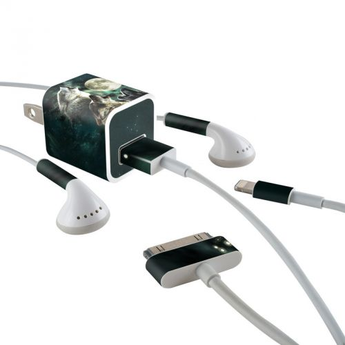 Three Wolf Moon iPhone Earphone, Power Adapter, Cable Skin