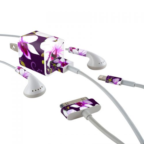 Violet Worlds iPhone Earphone, Power Adapter, Cable Skin