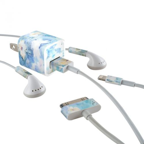 White & Blue iPhone Earphone, Power Adapter, Cable Skin