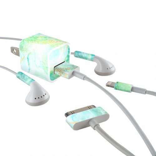 Winter Marble iPhone Earphone, Power Adapter, Cable Skin