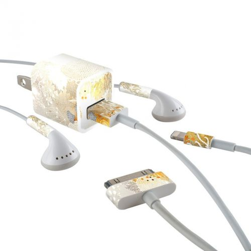 White Velvet iPhone Earphone, Power Adapter, Cable Skin
