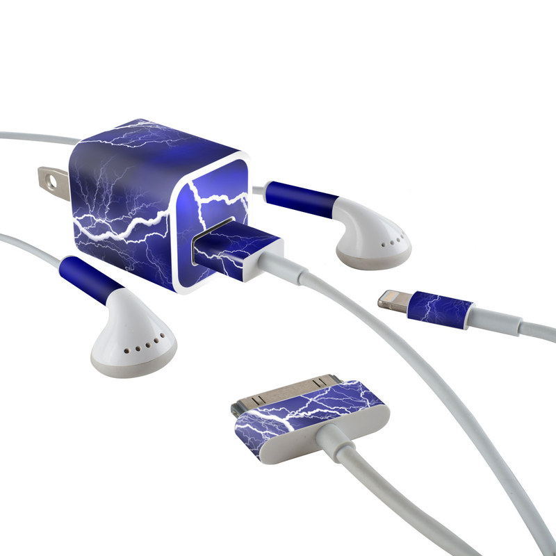 iPhone Earphone, Power Adapter, Cable Skin design of Thunder, Lightning, Thunderstorm, Sky, Nature, Electric blue, Atmosphere, Daytime, Blue, Atmospheric phenomenon with blue, black, white colors
