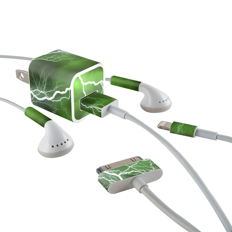 Apocalypse Green iPhone Earphone, Power Adapter, Cable Skin