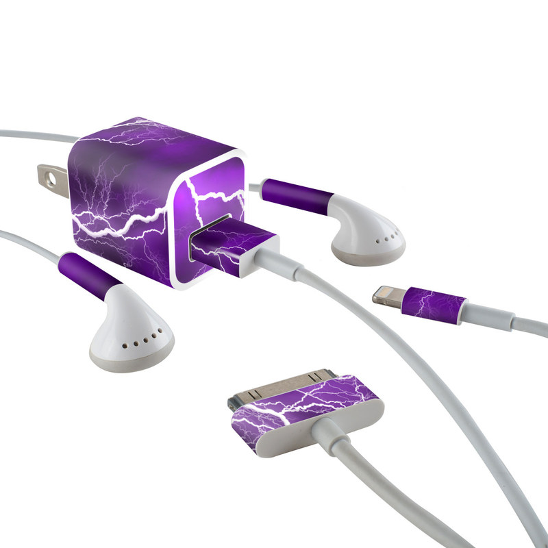 iPhone Earphone, Power Adapter, Cable Skin design of Thunder, Lightning, Thunderstorm, Sky, Nature, Purple, Violet, Atmosphere, Storm, Electric blue with purple, black, white colors