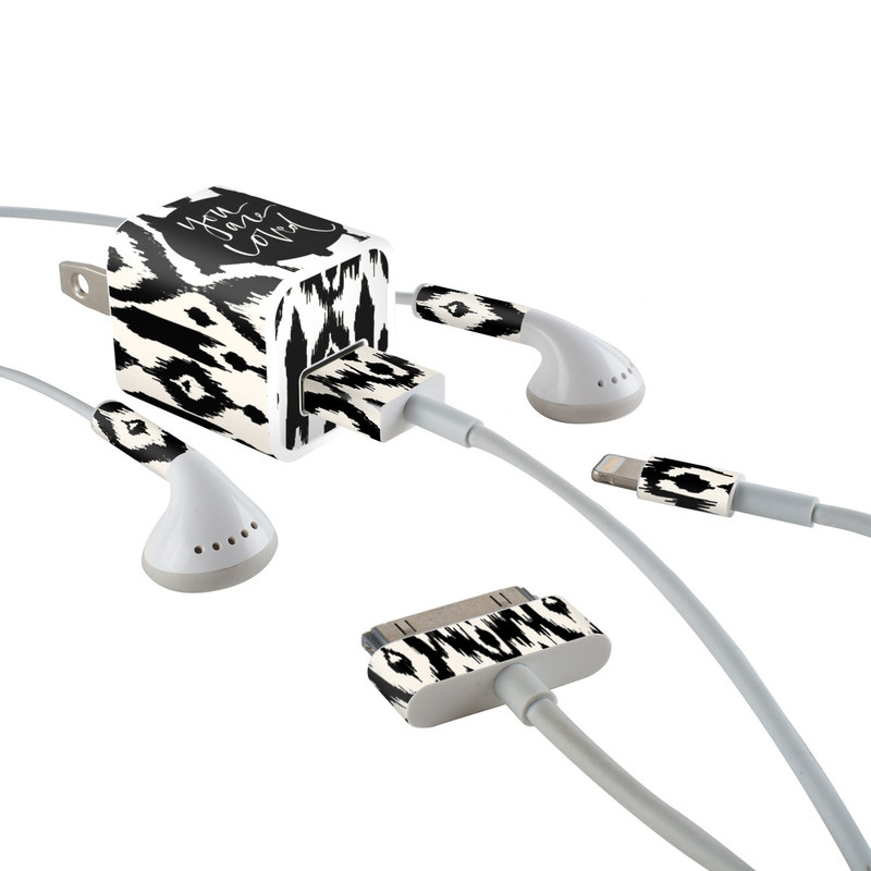 iPhone Earphone, Power Adapter, Cable Skin design of Font, Pattern, Black-and-white, Text, Design, Monochrome, Monochrome photography, Calligraphy, Visual arts, Illustration with black, white colors