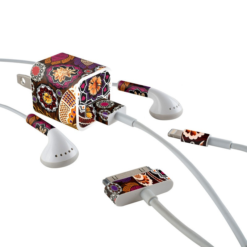 iPhone Earphone, Power Adapter, Cable Skin design of Pattern, Motif, Visual arts, Design, Art, Floral design, Textile, Paisley, Tapestry, Circle with brown, purple, red, white, black colors