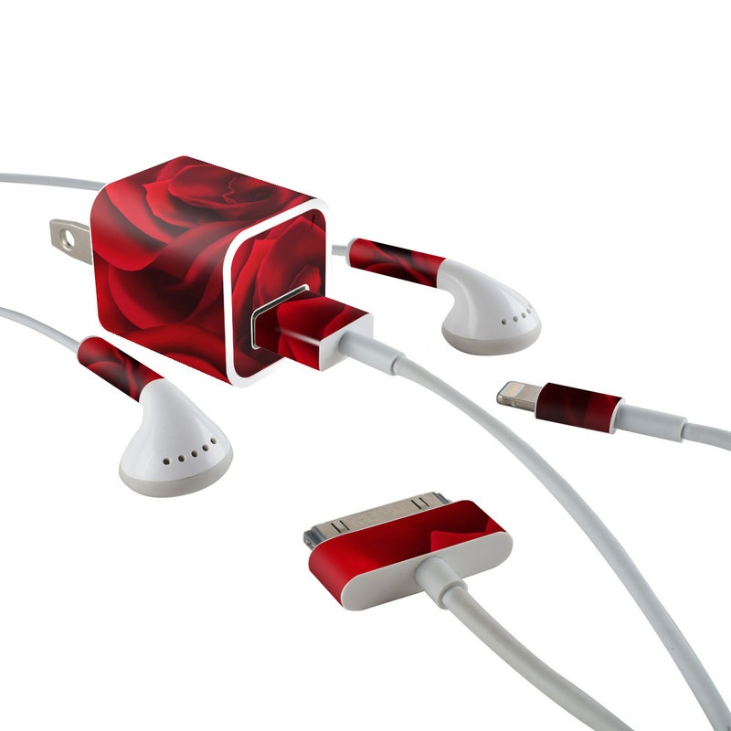 iPhone Earphone, Power Adapter, Cable Skin design of Red, Garden roses, Rose, Petal, Flower, Nature, Floribunda, Rose family, Close-up, Plant with black, red colors