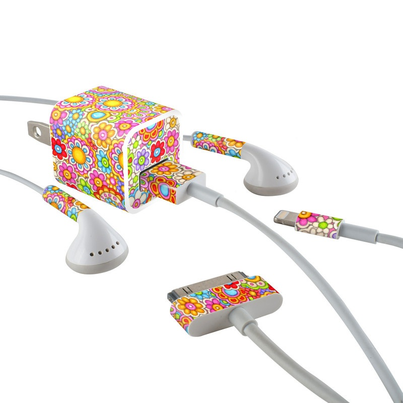 Bright Ditzy iPhone Earphone, Power Adapter, Cable Skin