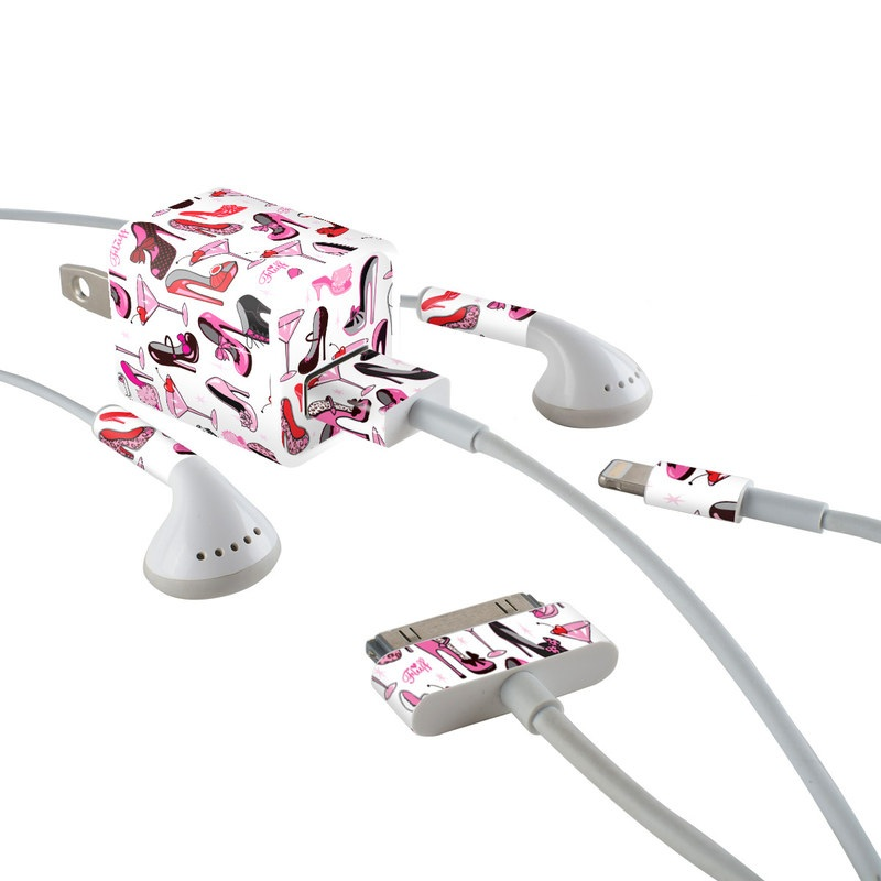iPhone Earphone, Power Adapter, Cable Skin design of Pink, Footwear, High heels, Clip art, Line, Font, Design, Shoe, Graphics with white, pink, black, red colors