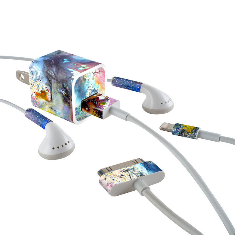 iPhone Earphone, Power Adapter, Cable Skin design of Watercolor paint, Painting, Acrylic paint, Art, Modern art, Paint, Visual arts, Space, Colorfulness, Illustration with gray, black, blue, red, pink colors
