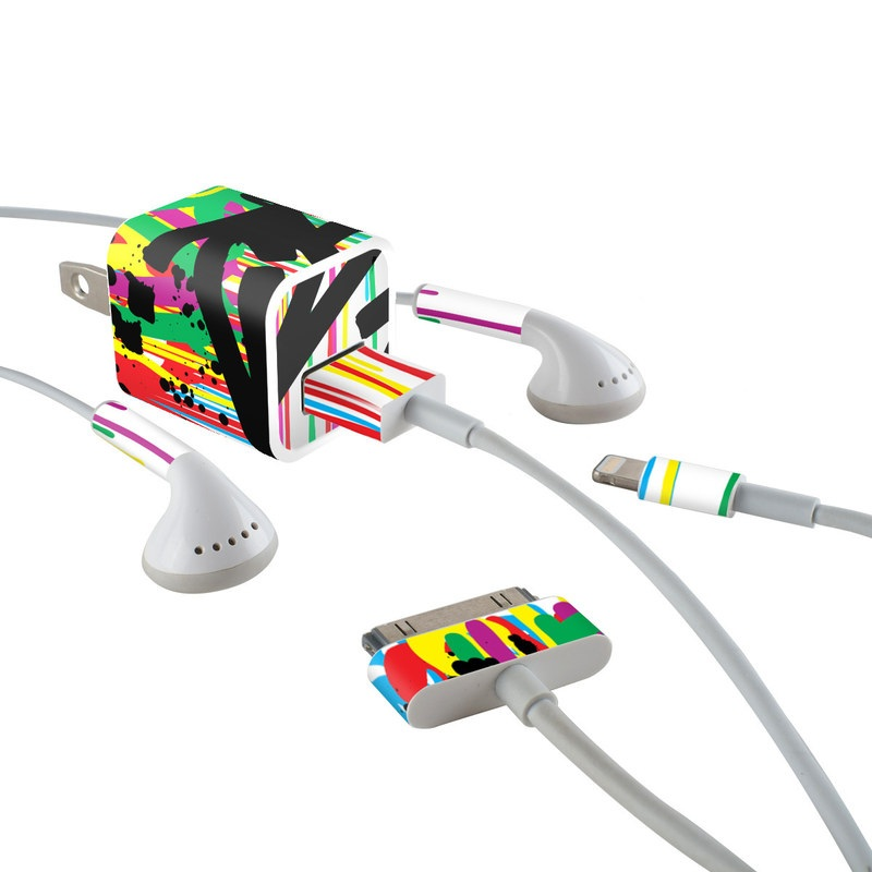 Colour Rain iPhone Earphone, Power Adapter, Cable Skin