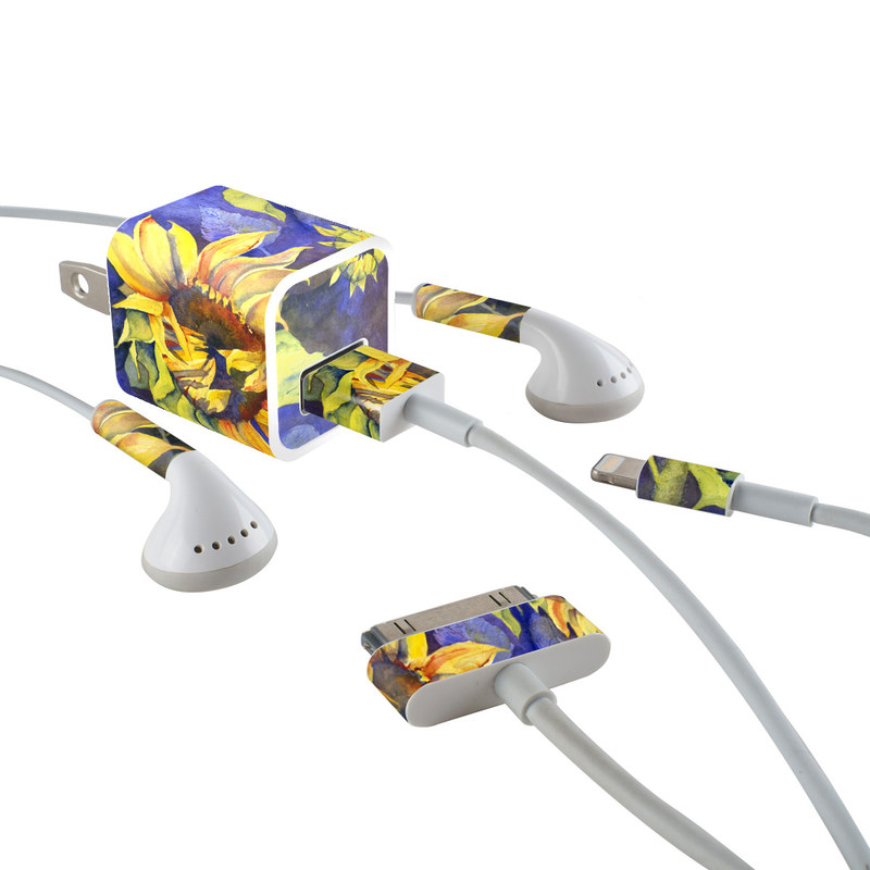 iPhone Earphone, Power Adapter, Cable Skin design of Flower, Sunflower, Painting, sunflower, Watercolor paint, Plant, Flowering plant, Yellow, Acrylic paint, Still life with green, black, blue, gray, red, orange colors