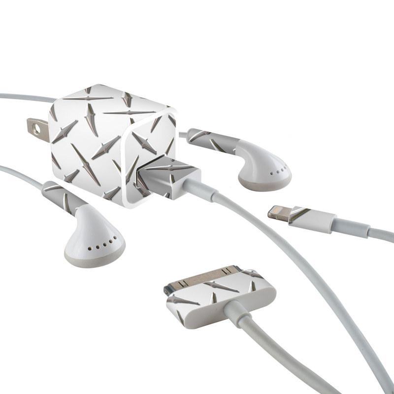 Diamond Plate iPhone Earphone, Power Adapter, Cable Skin