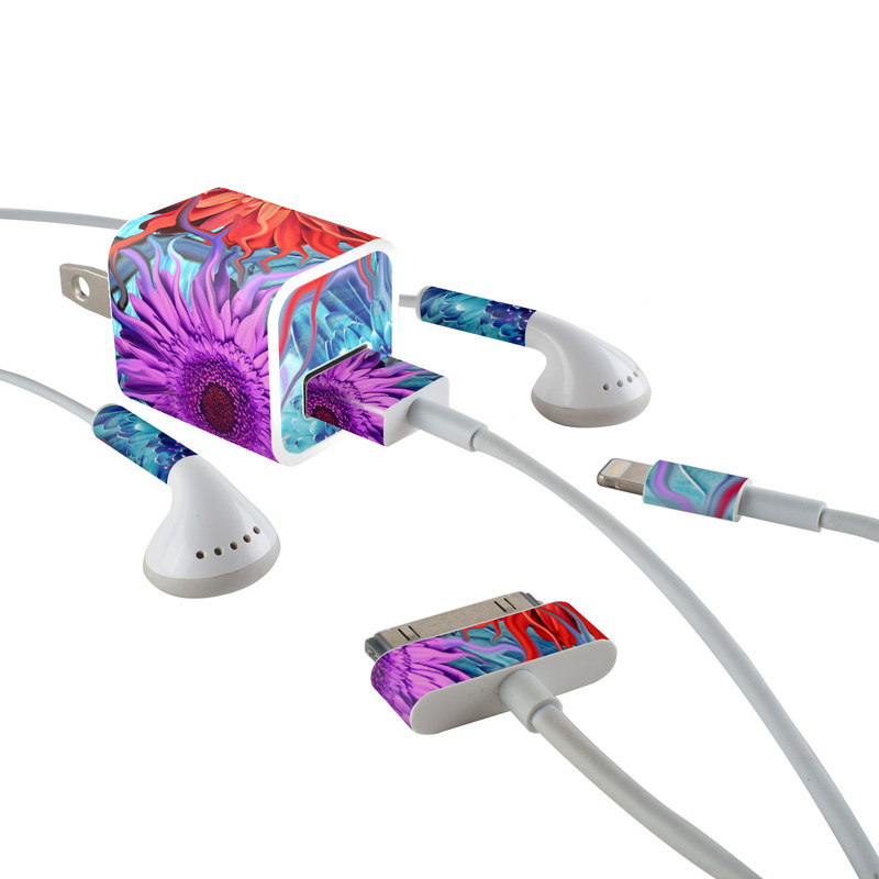 iPhone Earphone, Power Adapter, Cable Skin design of Psychedelic art, Pattern, Organism, Colorfulness, Art, Flower, Petal, Design, Fractal art, Electric blue with red, black, blue, purple, gray colors