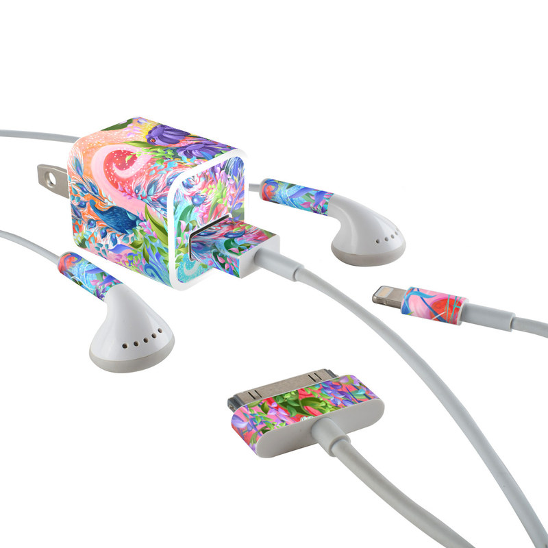 Fantasy Garden iPhone Earphone, Power Adapter, Cable Skin