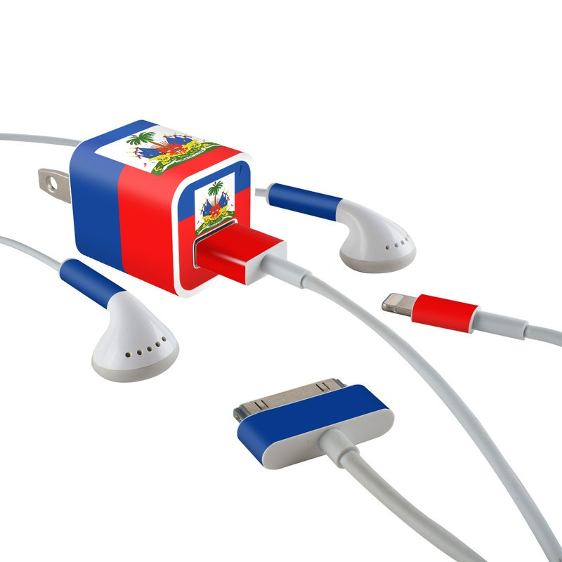 Haiti Flag iPhone Earphone, Power Adapter, Cable Skin