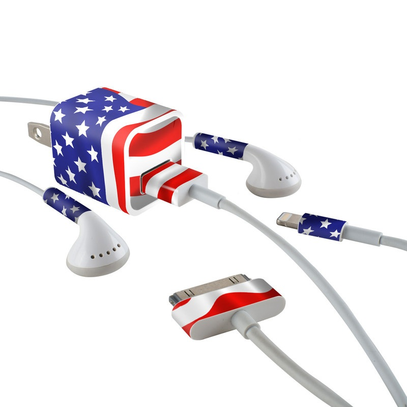 USA Flag iPhone Earphone, Power Adapter, Cable Skin