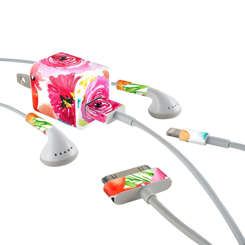 iPhone Earphone, Power Adapter, Cable Skin design of Flower, Cut flowers, Floral design, Plant, Pink, Bouquet, Petal, Flower Arranging, Artificial flower, Clip art with pink, red, green, orange, yellow, blue, white colors