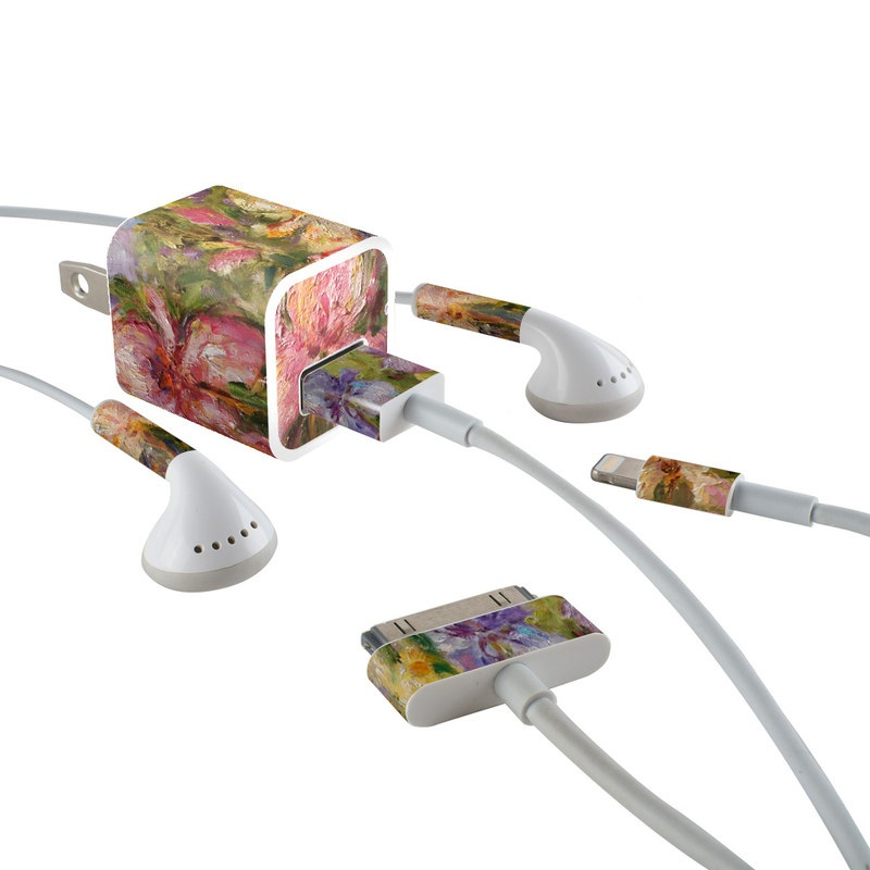 Field Of Irises iPhone Earphone, Power Adapter, Cable Skin