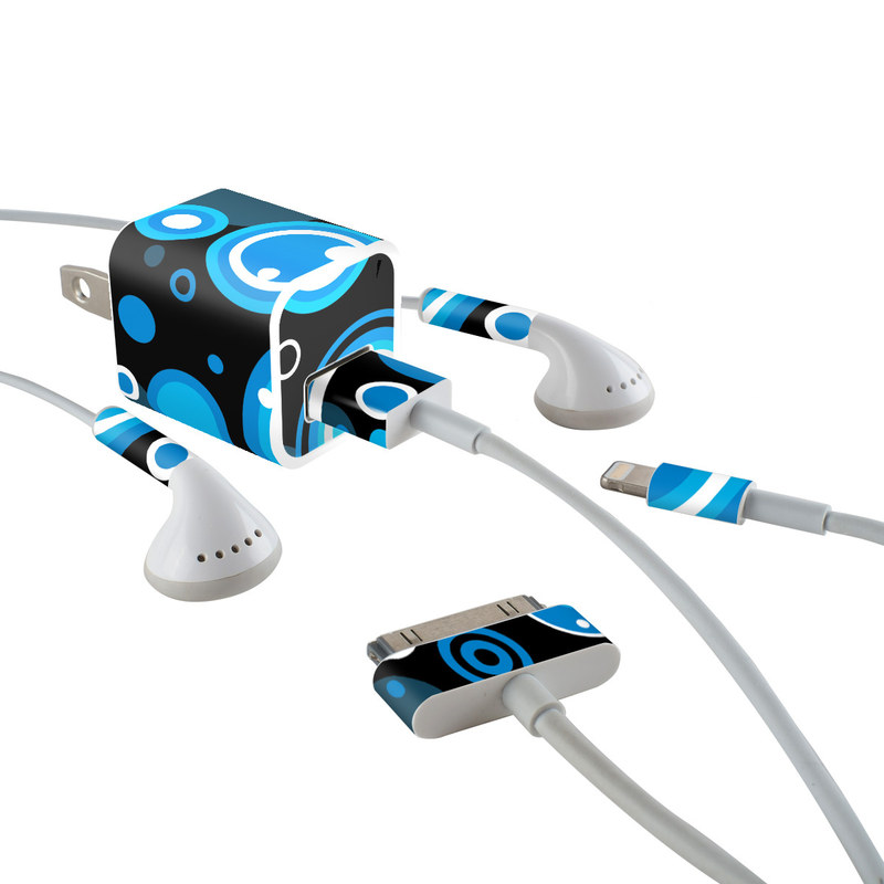 iPhone Earphone, Power Adapter, Cable Skin design of Blue, Circle, Pattern, Aqua, Turquoise, Design, Font, Electric blue, Organism, Graphic design with black, blue, white, gray colors