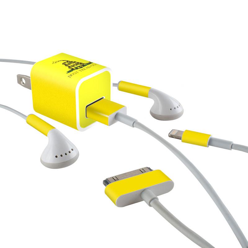 Gadsden Flag iPhone Earphone, Power Adapter, Cable Skin