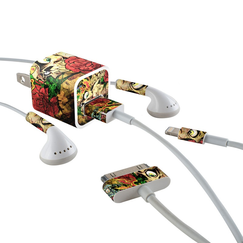 iPhone Earphone, Power Adapter, Cable Skin design of Illustration, Bouquet, Art, Skull, Plant, Rose, Flower, Graphic design, Fictional character, Floral design with black, red, green, gray colors