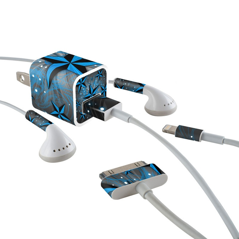 iPhone Earphone, Power Adapter, Cable Skin design of Blue, Star, Pattern, Design, Astronomical object, Snowflake, Space, Symmetry with black, blue, gray colors