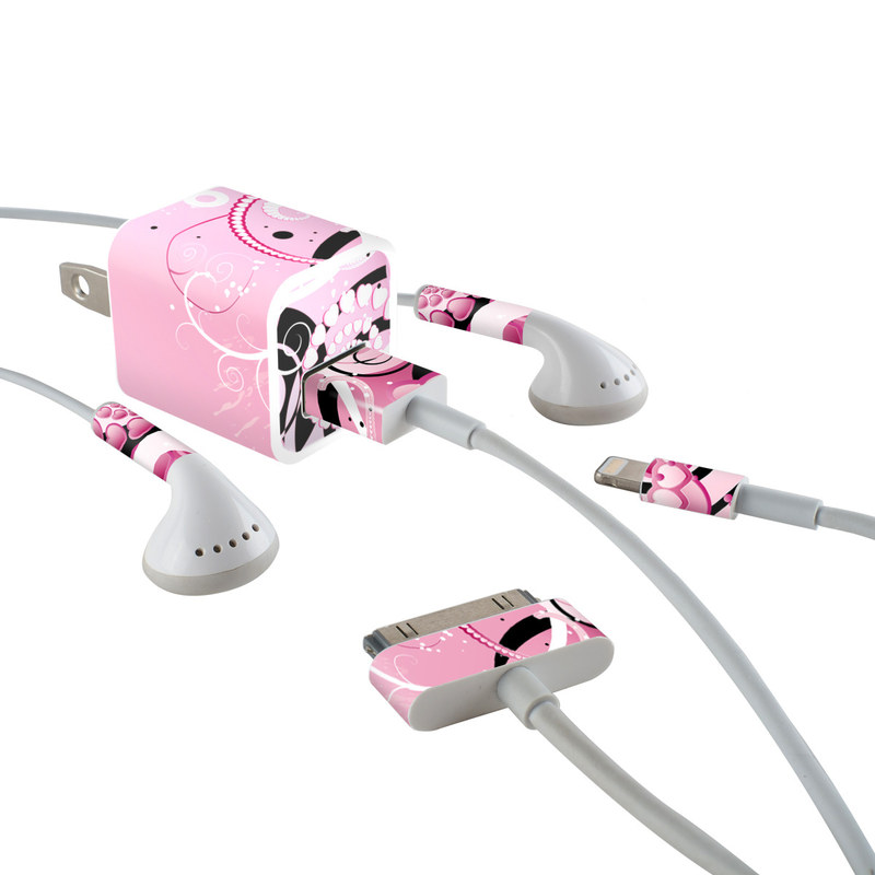 iPhone Earphone, Power Adapter, Cable Skin design of Pink, Floral design, Graphic design, Text, Design, Flower Arranging, Pattern, Illustration, Flower, Floristry with pink, gray, black, white, purple, red colors