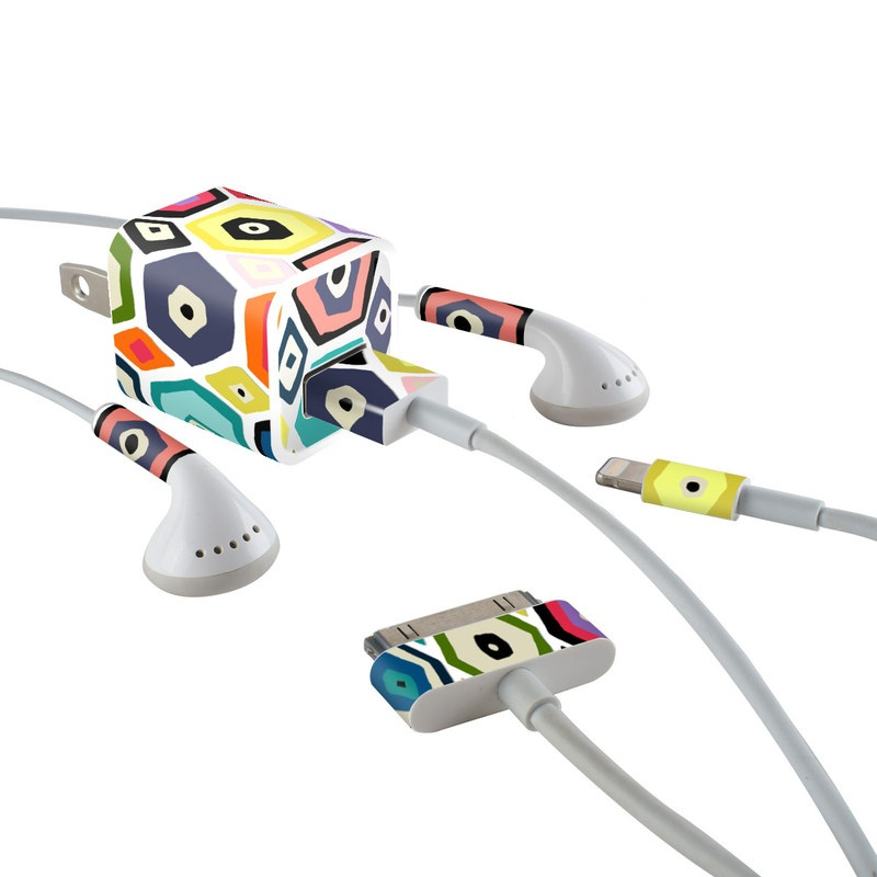 Hex Diamond iPhone Earphone, Power Adapter, Cable Skin