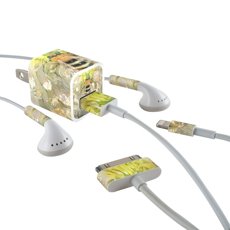 iPhone Earphone, Power Adapter, Cable Skin design of Honeybee, Insect, Bee, Membrane-winged insect, Invertebrate, Pest, Watercolor paint, Pollinator, Illustration, Organism with yellow, orange, black, green, gray, pink colors