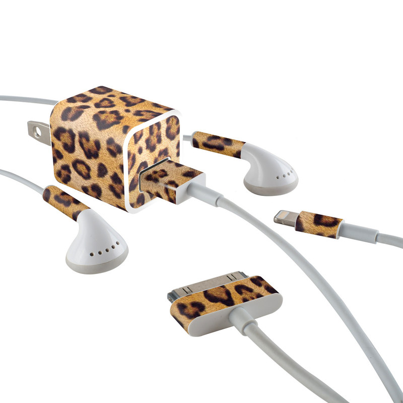 iPhone Earphone, Power Adapter, Cable Skin design of Pattern, Felidae, Fur, Brown, Design, Terrestrial animal, Close-up, Big cats, African leopard, Organism with orange, black colors