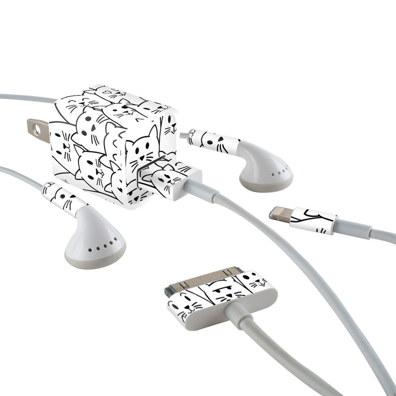 iPhone Earphone, Power Adapter, Cable Skin design of White, Line art, Text, Black, Pattern, Black-and-white, Line, Design, Font, Organism with white, black colors