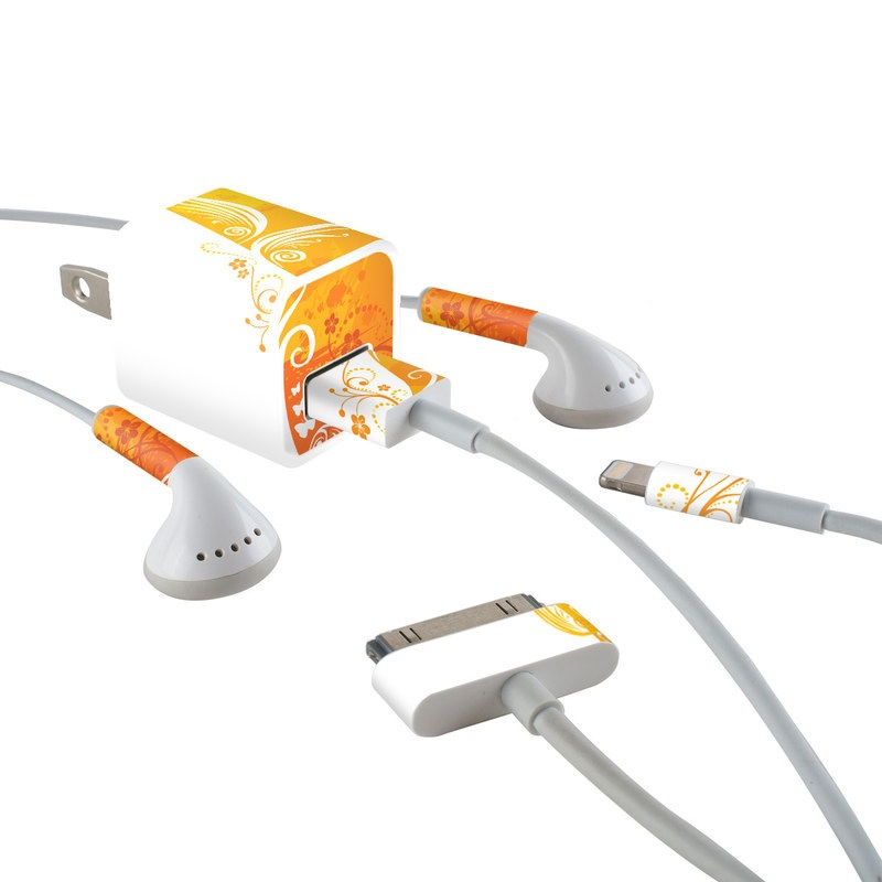 iPhone Earphone, Power Adapter, Cable Skin design of Orange, Yellow, Pattern, Amber, Design, Ornament, Floral design, Graphics, Graphic design, Visual arts with orange, white, red, pink, yellow colors