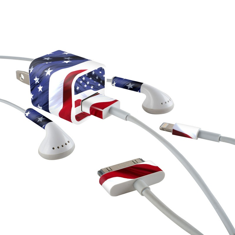 Patriotic iPhone Earphone, Power Adapter, Cable Skin