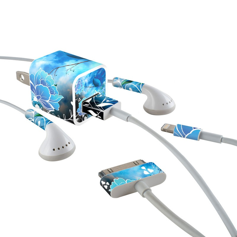 Peacock Sky iPhone Earphone, Power Adapter, Cable Skin