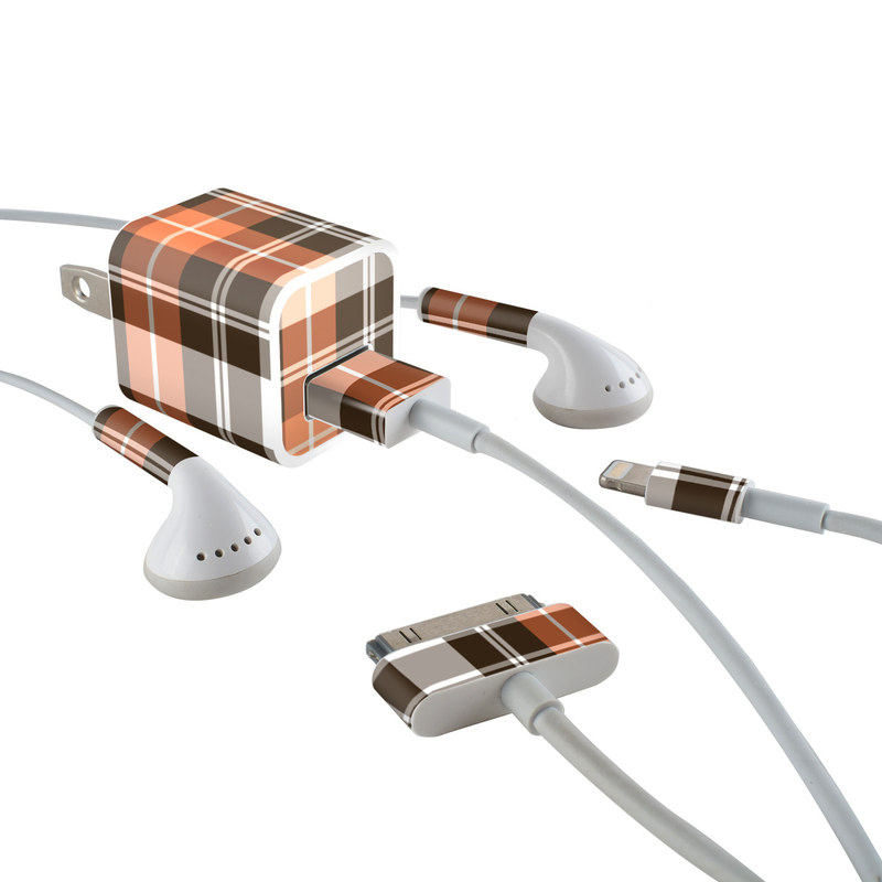 Copper Plaid iPhone Earphone, Power Adapter, Cable Skin