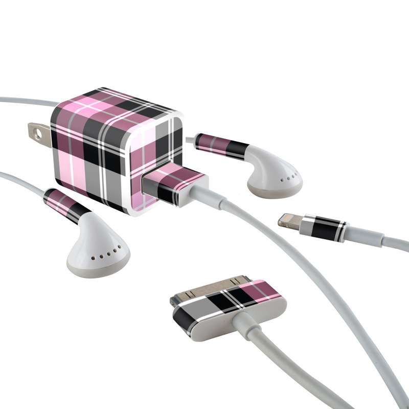 Pink Plaid iPhone Earphone, Power Adapter, Cable Skin