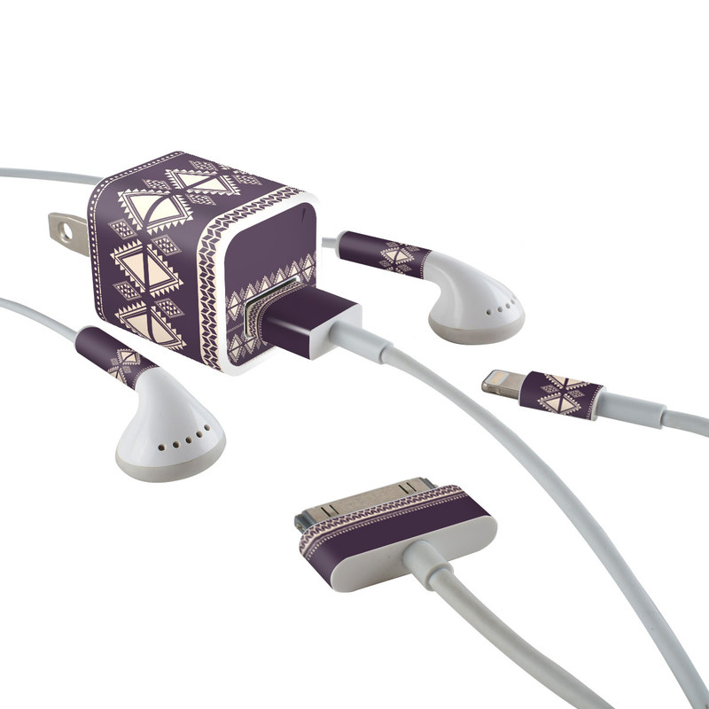 iPhone Earphone, Power Adapter, Cable Skin design of Pattern, Purple, Text, Line, Violet, Design, Textile, Font, Lace with purple, white colors