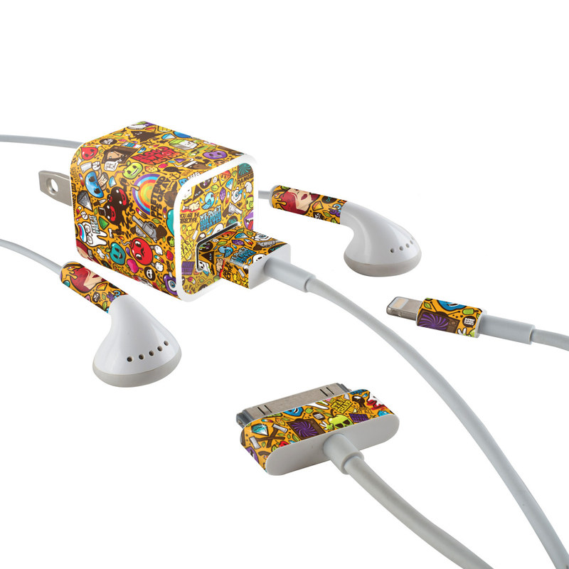 iPhone Earphone, Power Adapter, Cable Skin design of Pattern, Psychedelic art, Visual arts, Art, Design, Illustration, Graphic design, Doodle with black, green, red, gray, orange, blue colors