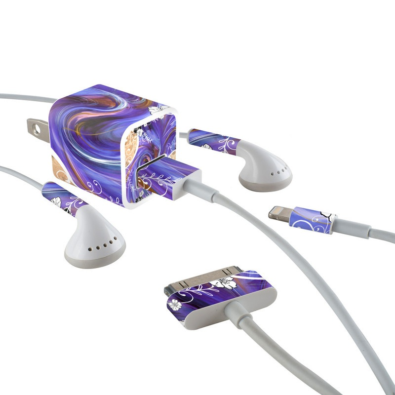Purple Waves iPhone Earphone, Power Adapter, Cable Skin