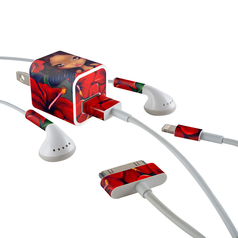 iPhone Earphone, Power Adapter, Cable Skin design of Red, Lip, Illustration, Flower, Plant, Fictional character, Animated cartoon, Petal, Art, Black hair with black, red, green colors