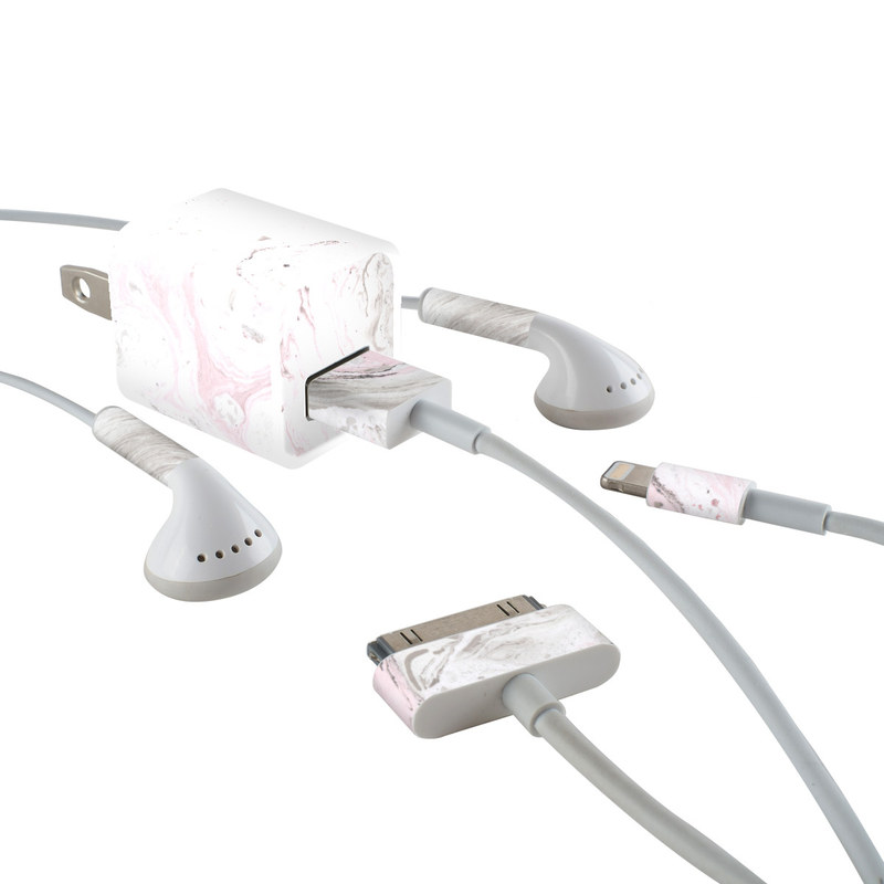Rosa Marble iPhone Earphone, Power Adapter, Cable Skin